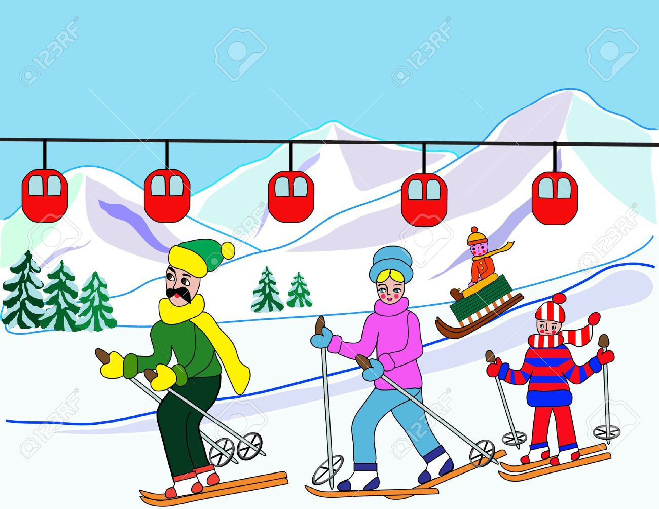 Kids skiing clipart.