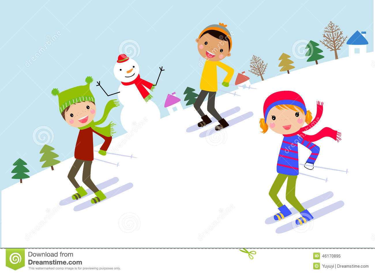 Kids skiing clipart » Clipart Station.