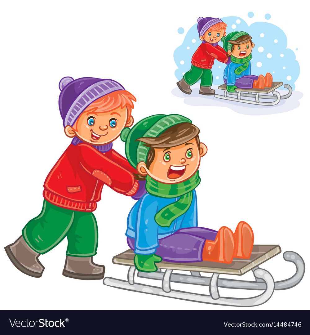 Two boys friends ride a sled.