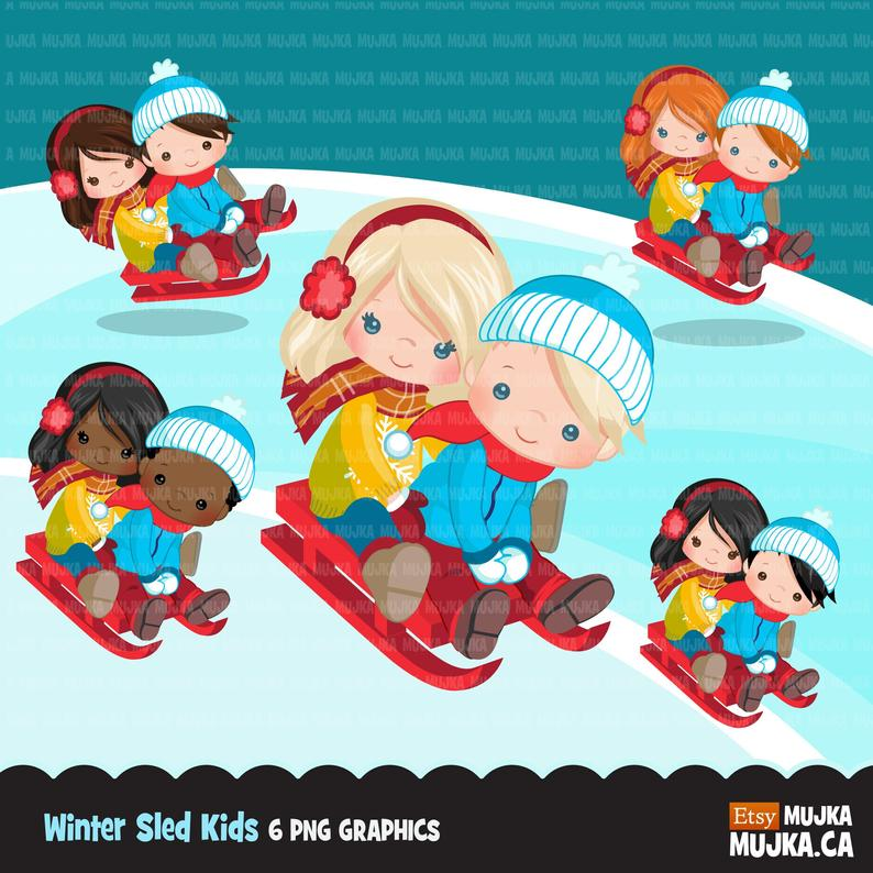 Winter sled snow kids clipart, kids sledding, tobogganing, winter outfits,  outdoor activity, snow day, commercial use, graphics, cute kids.