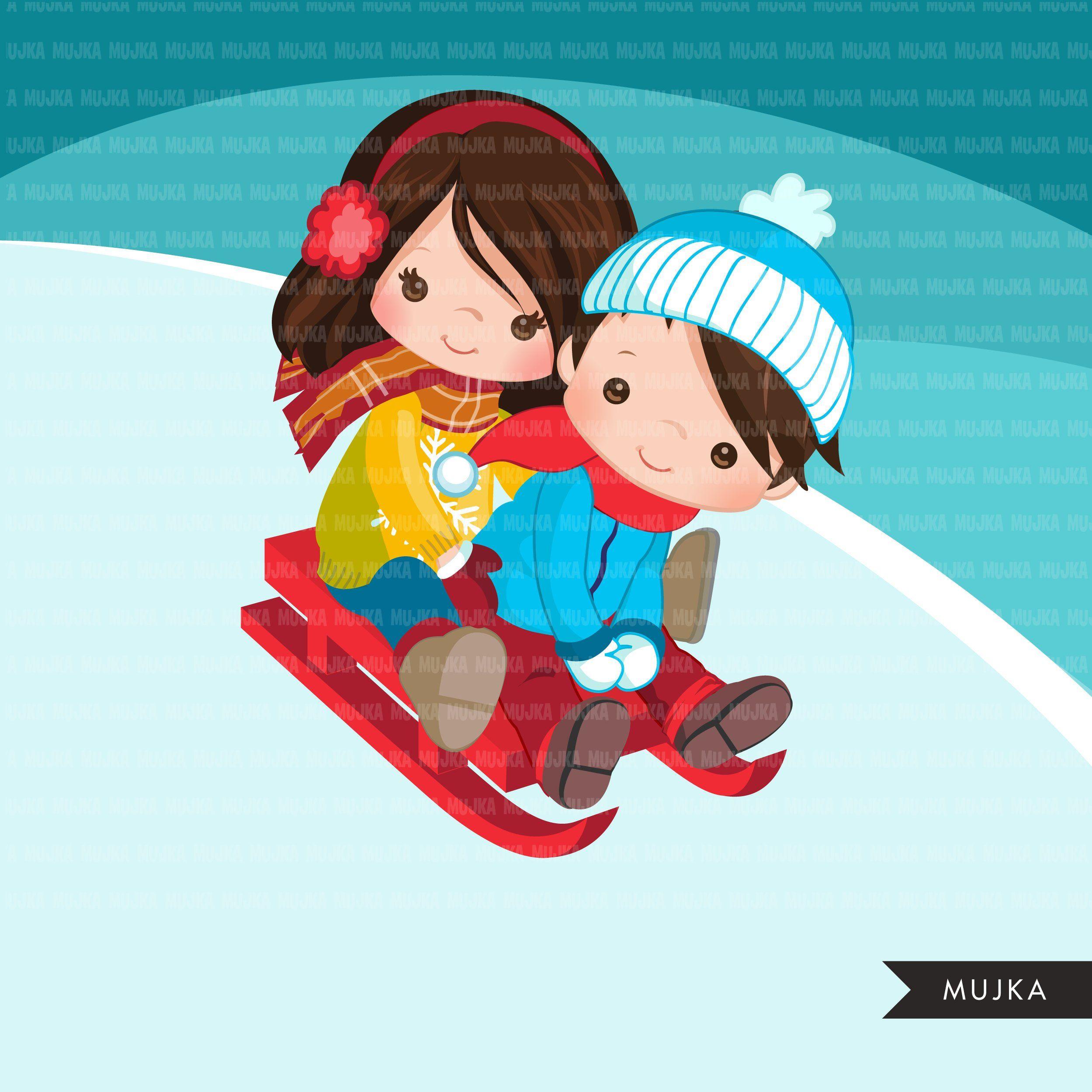 Winter sled snow kids clipart, kids sledding, tobogganing.