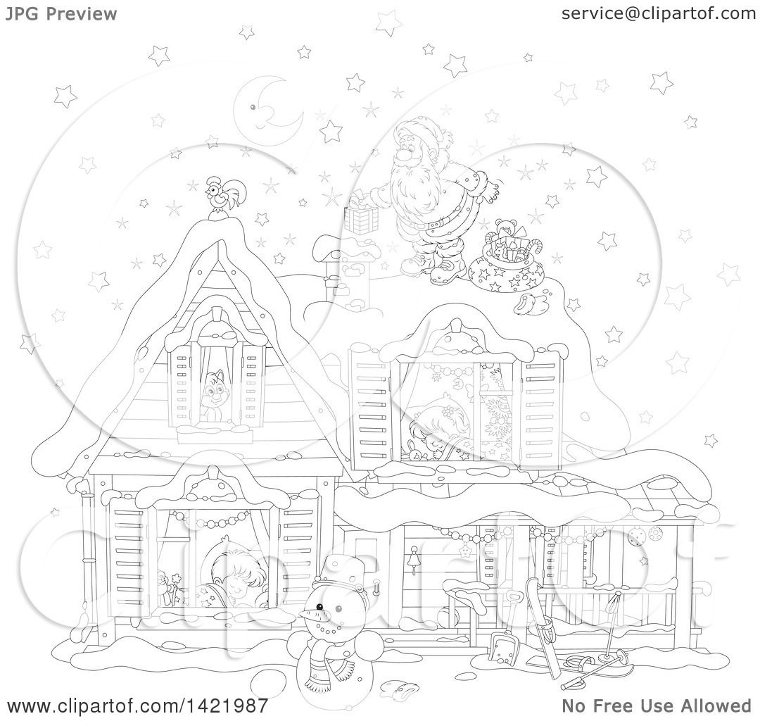 Clipart of a Black and White Lineart Christmas Eve Scene of Santa.