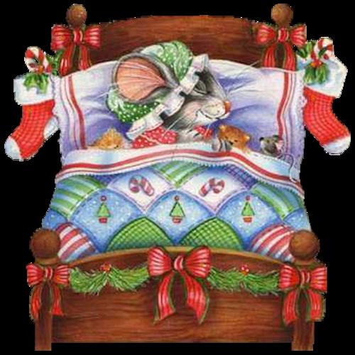 CHRISTMAS MICE SLEEPING IN BED CLIP ART.