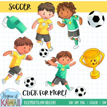Kids Playing Soccer Sports Clip Art.