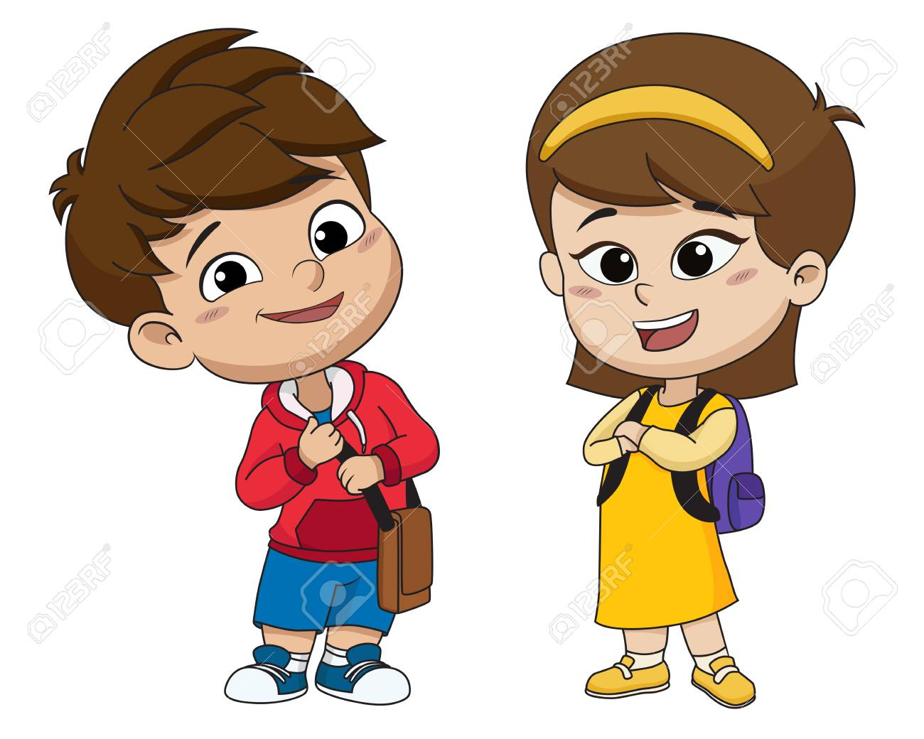 Back to school. Cute kids standing with different pose.vector...