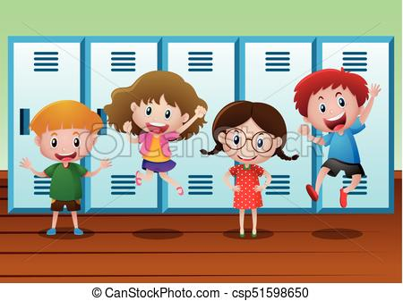 Four kids standing by the lockers.
