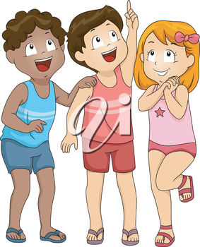 Clipart Illustration of Children Standing Together and Smiling While.