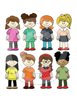 kid standing clipart+black white outlines.