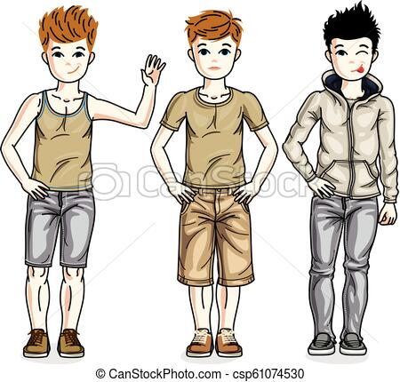Cute little boys children standing wearing different casual clothes. Vector  kids illustrations set. Childhood and family lifestyle clip art..