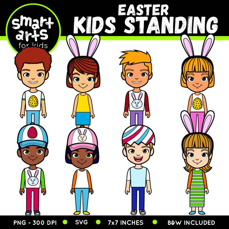 Easter Kids Standing Clip Art.