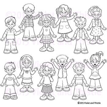 Kids Line Art Clipart.