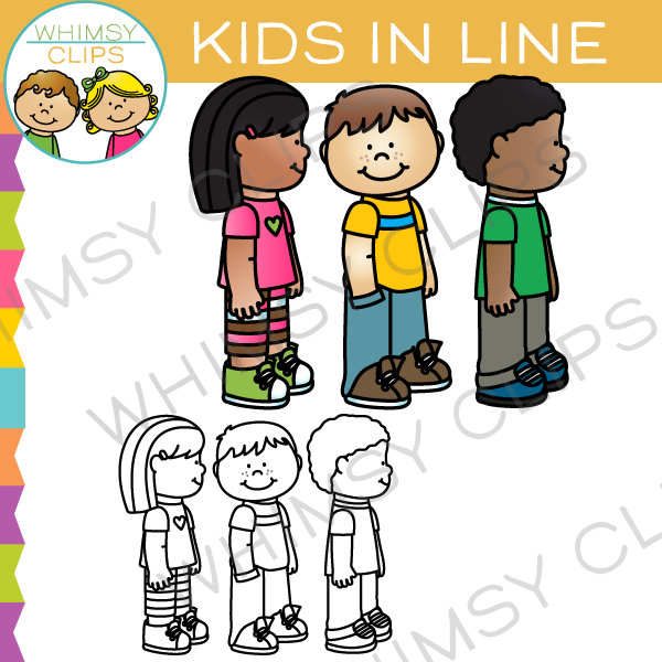 School Kids in Line Clip Art.