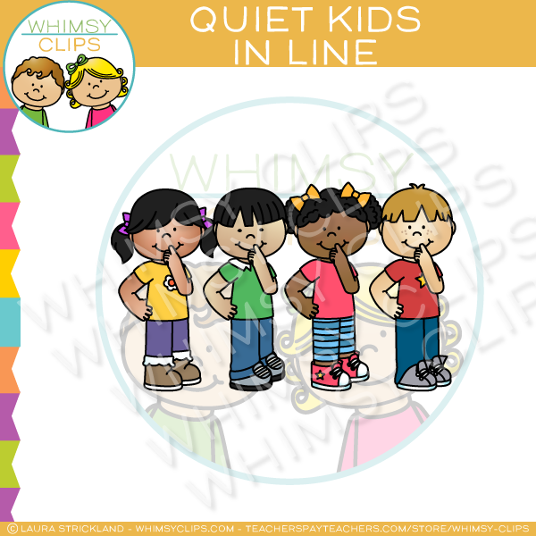 Quiet Kids In Line Clip Art.