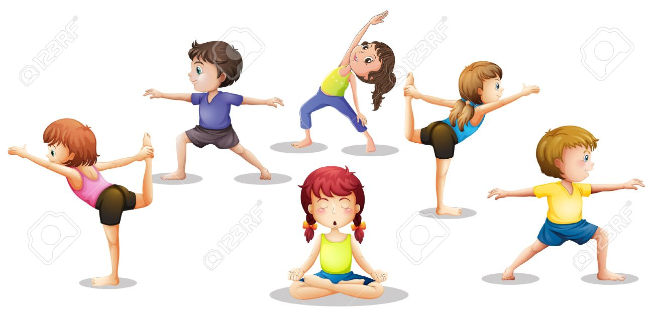 Illustration of many children stretching and meditating.