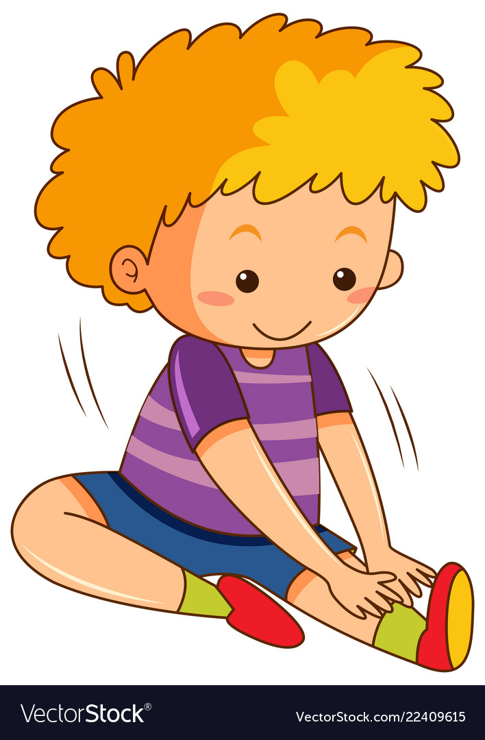 A boy stretching exercises vector image.
