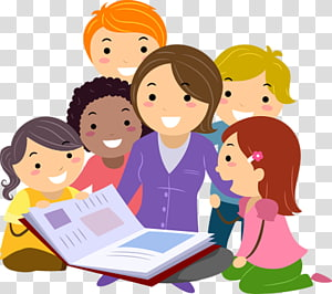 Child , Students, group of children studying illustration.
