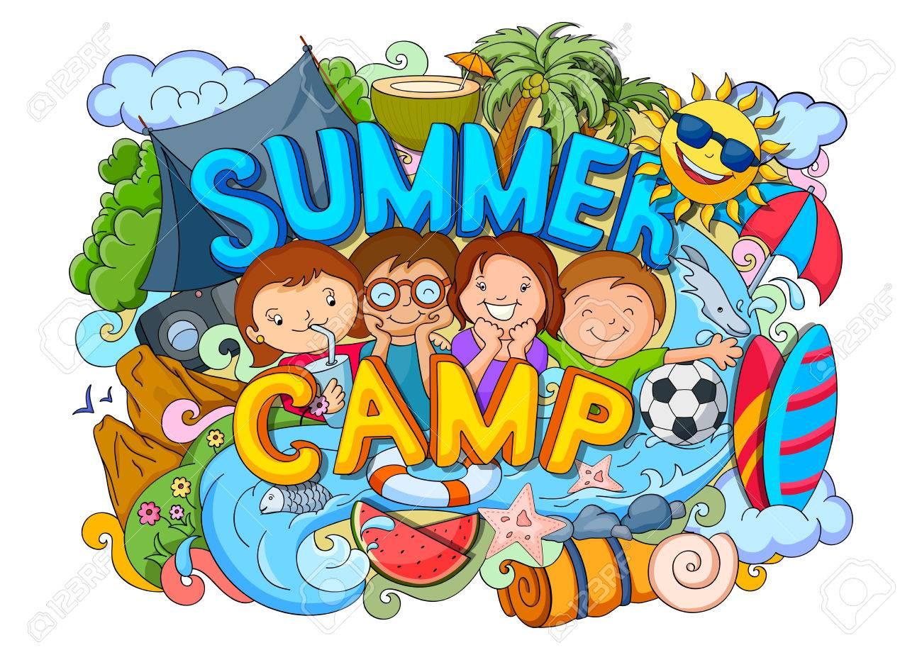 vector illustration of doodle of kids Summer Camp poster.