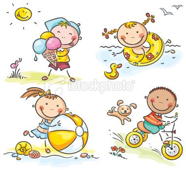 a set of happy little kids. No gradients..