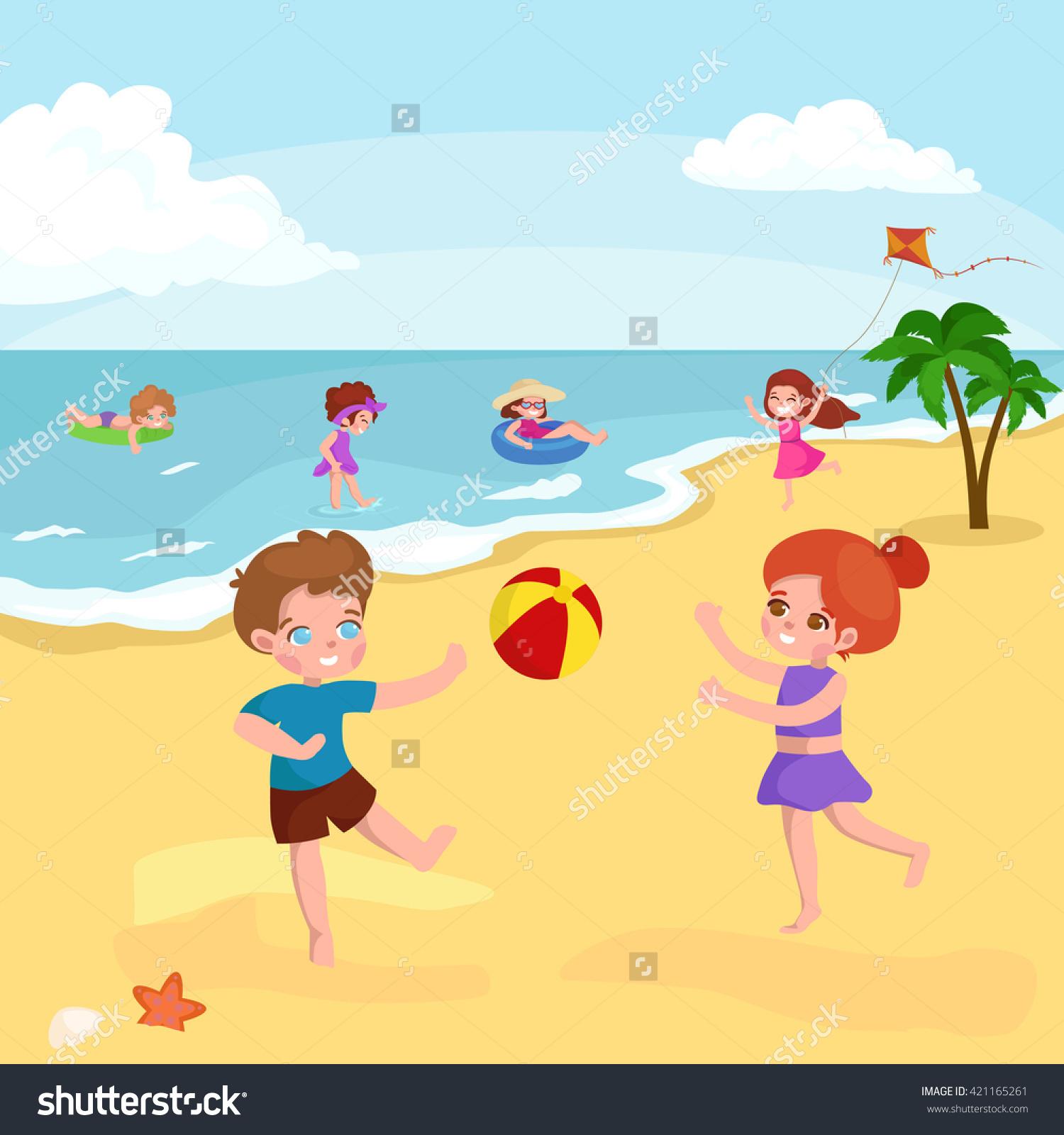 Children Summertime Vacation Parkkids Playing Sand Stock Vector.