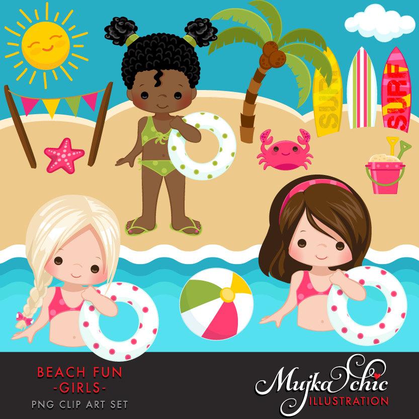 Beach Fun Clipart for Girls. Summer Cliparts, beach, swimming girl.