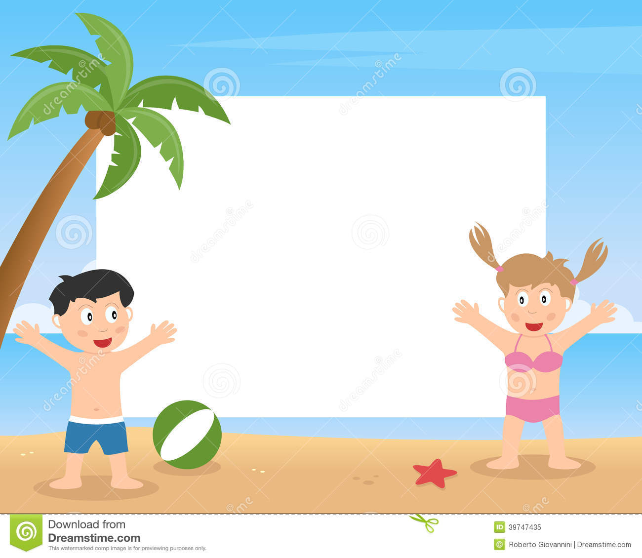 Summer Kids Playing Photo Frame Stock Vector.