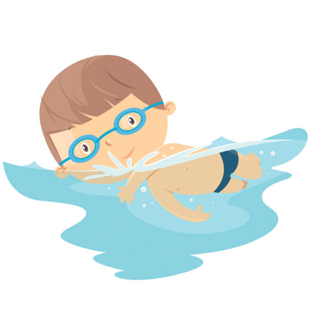 Best Kids Swimming Illustrations, Royalty.