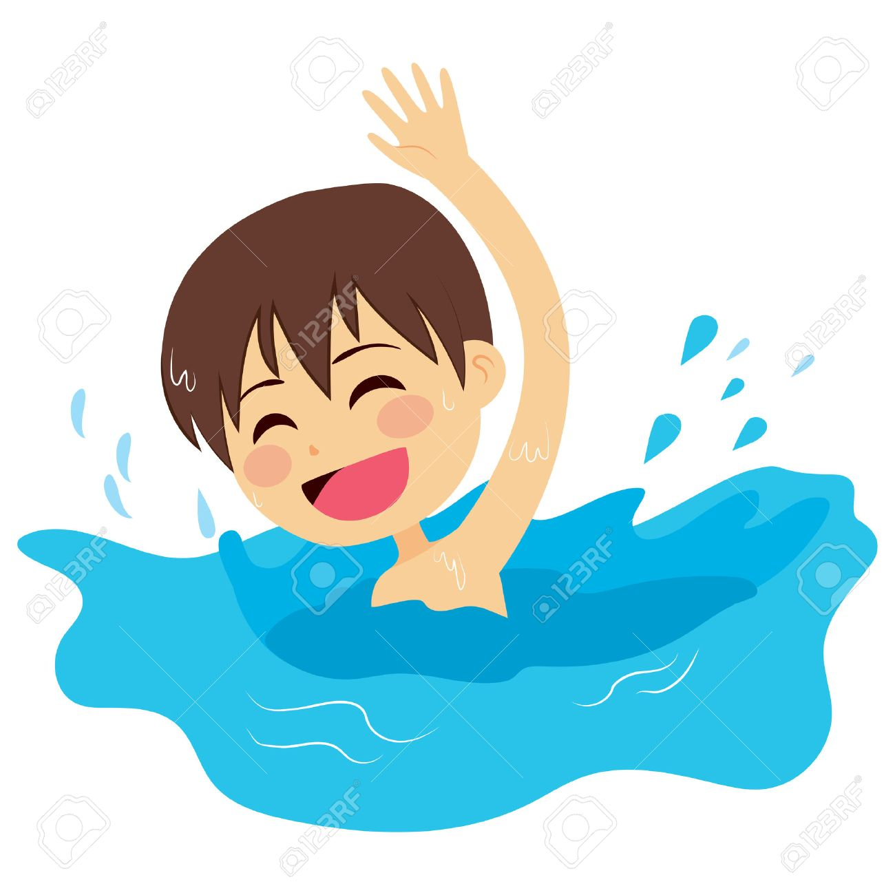 Cheerful and active little kid swimming happy on water.