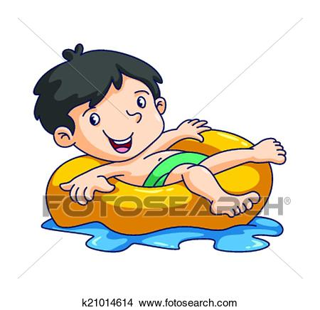 Kid swim Clipart.