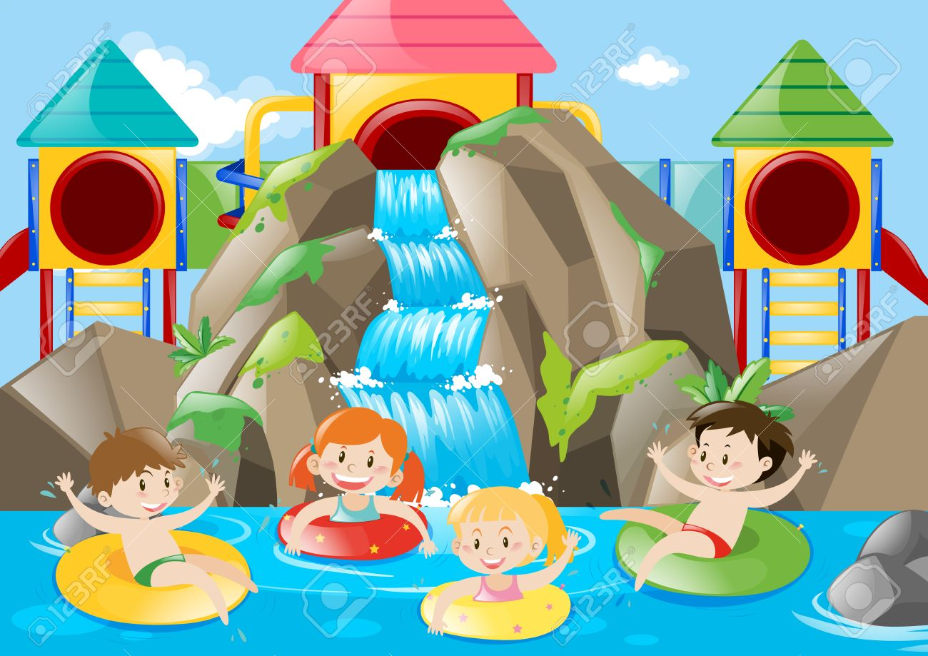 Kids swimming in the pool with waterfall illustration.