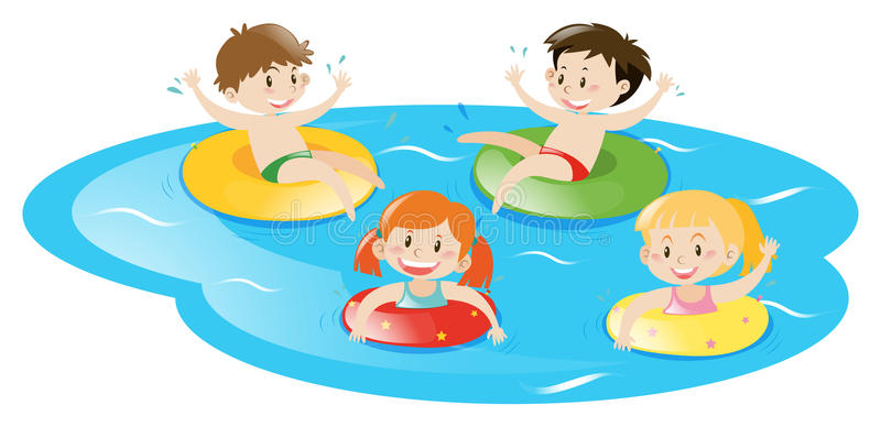 Kids Swimming Stock Illustrations.