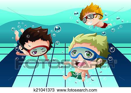 Kids having fun in the swimming pool Clipart.