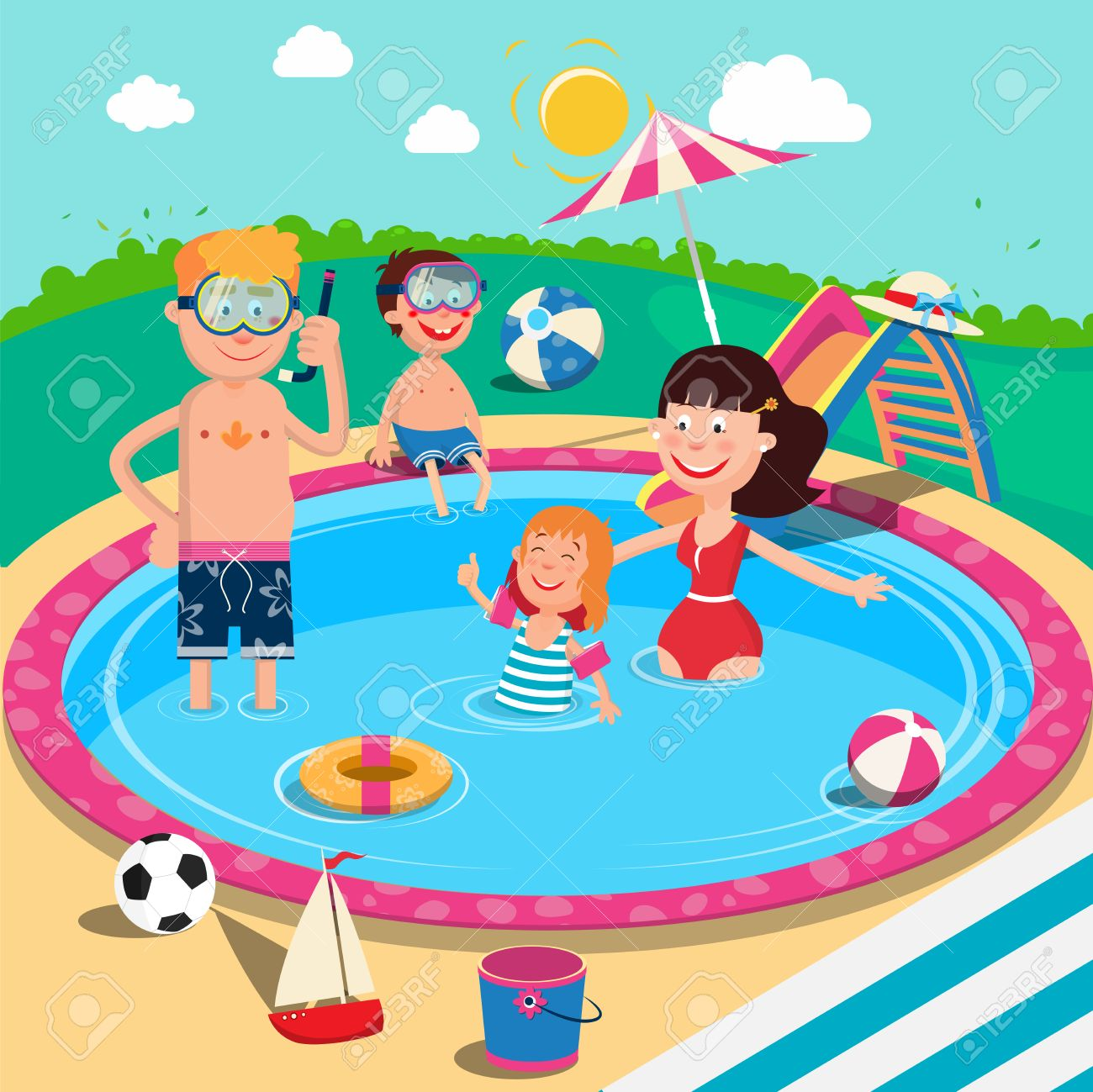 Happy Family in Swimming Pool. Smiling Parents and Children Having...