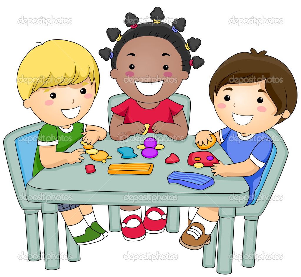 Kids Table Group Clipart.