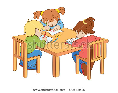 Children working at table clipart.