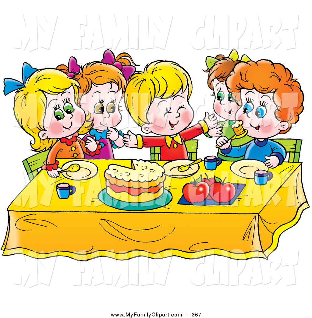 Kids Eating At Table Clipart.
