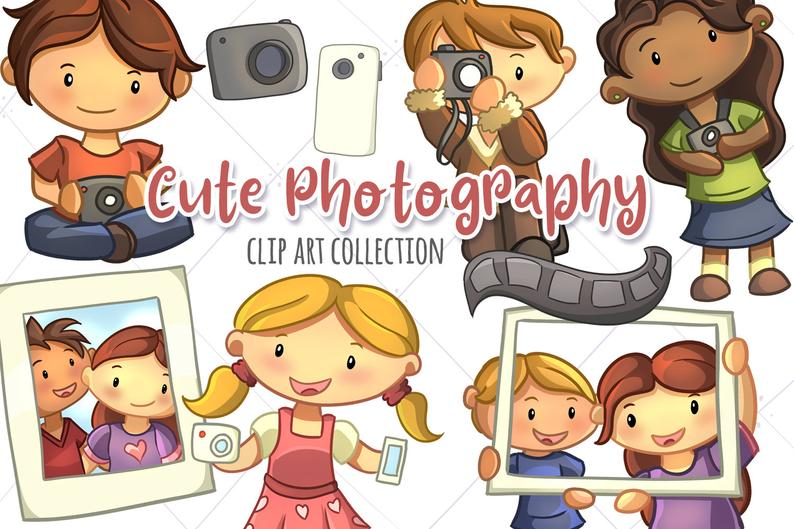 Cute Photography Clipart, Kawaii Photos, Kawaii Camera, Cute Camera Clip  Art, Cute Kids Taking Pictures, Photography Illustrations.