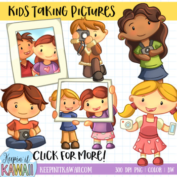 Cute Kids Photography Clip Art Set.