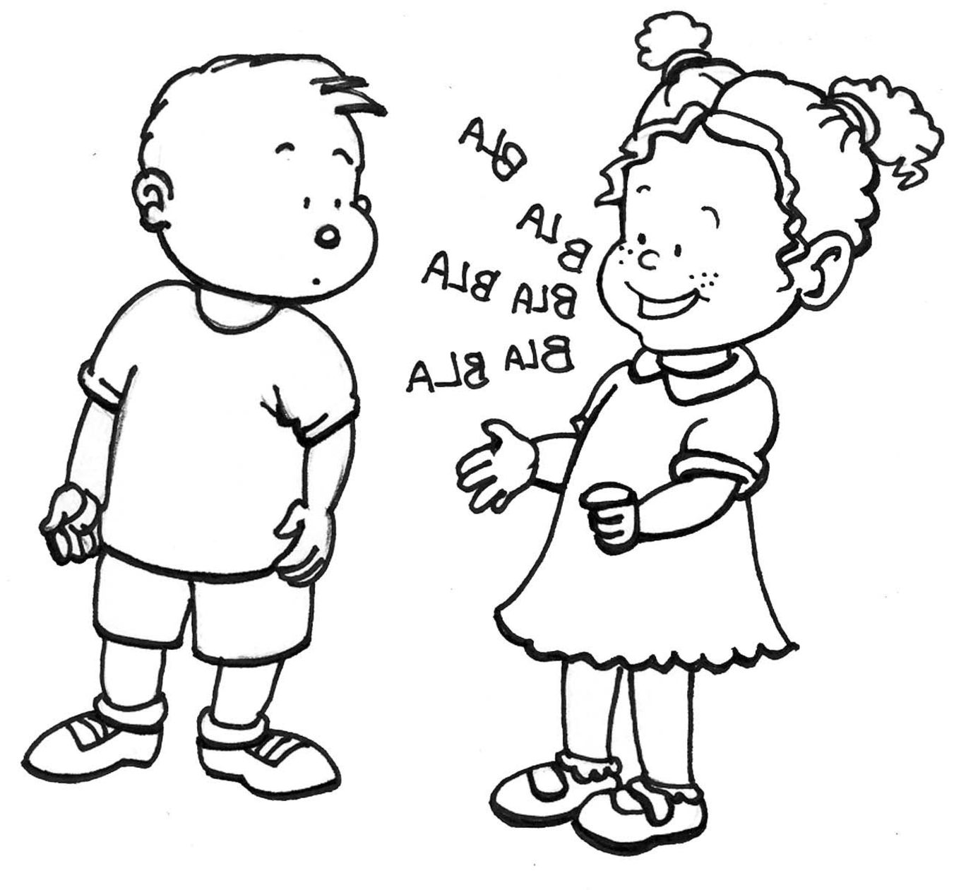 Child Talking Clipart Black And White.