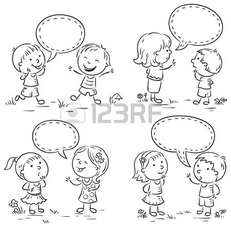 Boy And Girl Talking Clipart Black And White.
