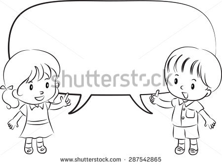 Kids talking clipart black and white 3 » Clipart Station.