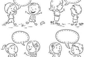 Kids talking clipart black and white » Clipart Station.
