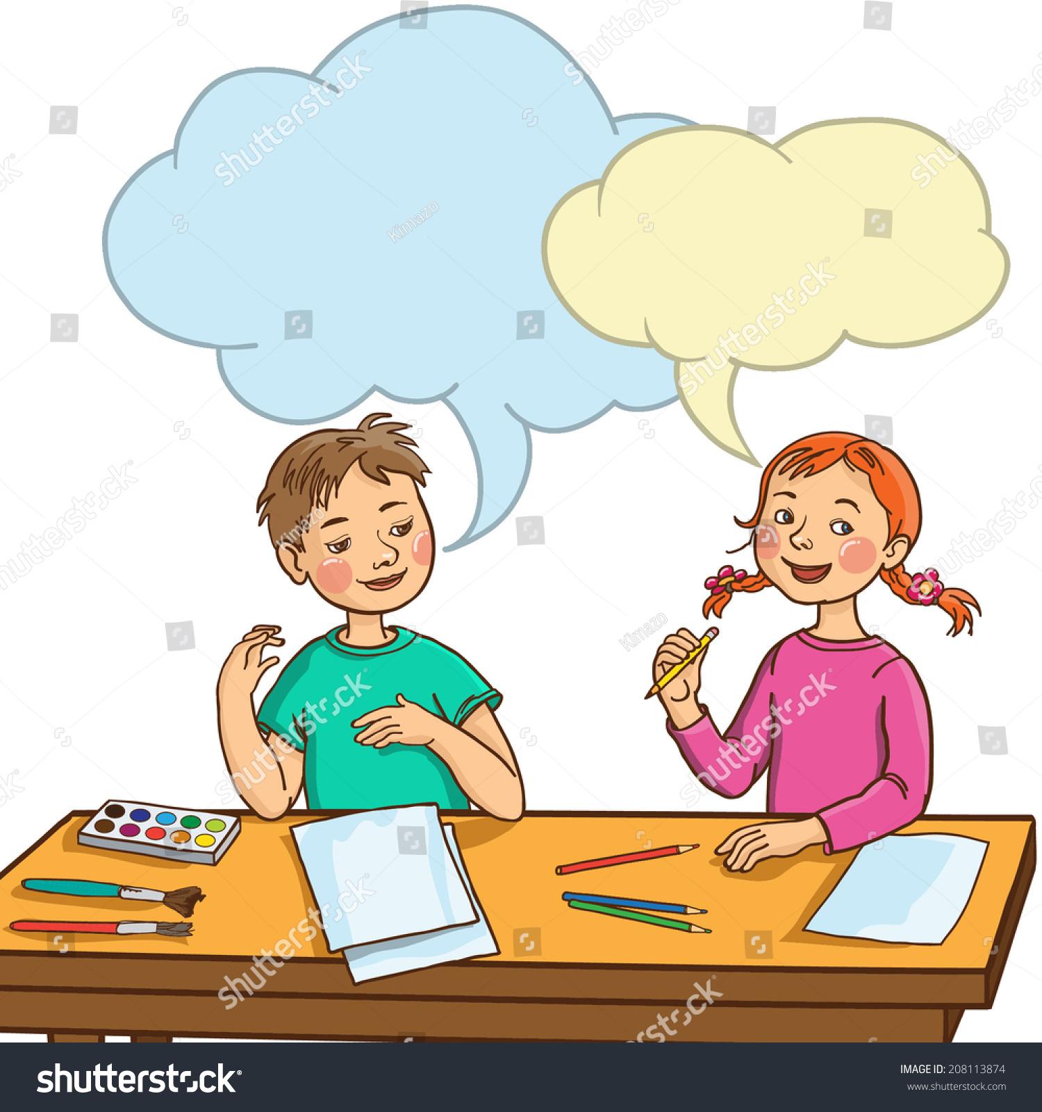 Kids Talking In Class Clipart.