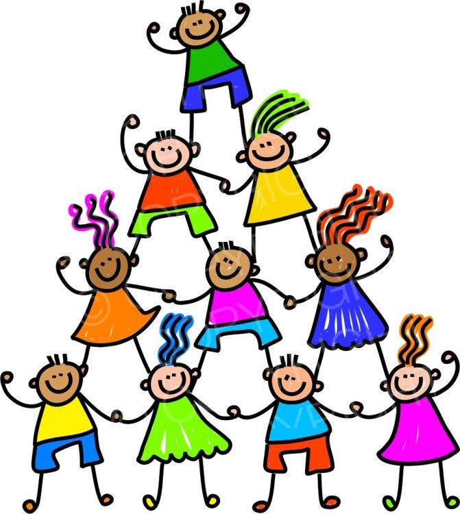 Happy Cartoon Teamwork Kids Toddler Art Prawny Clip Art.