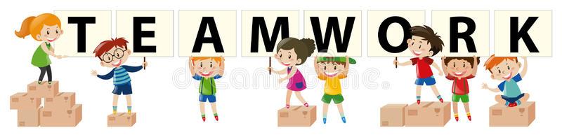 Kids Teamwork Stock Illustrations.