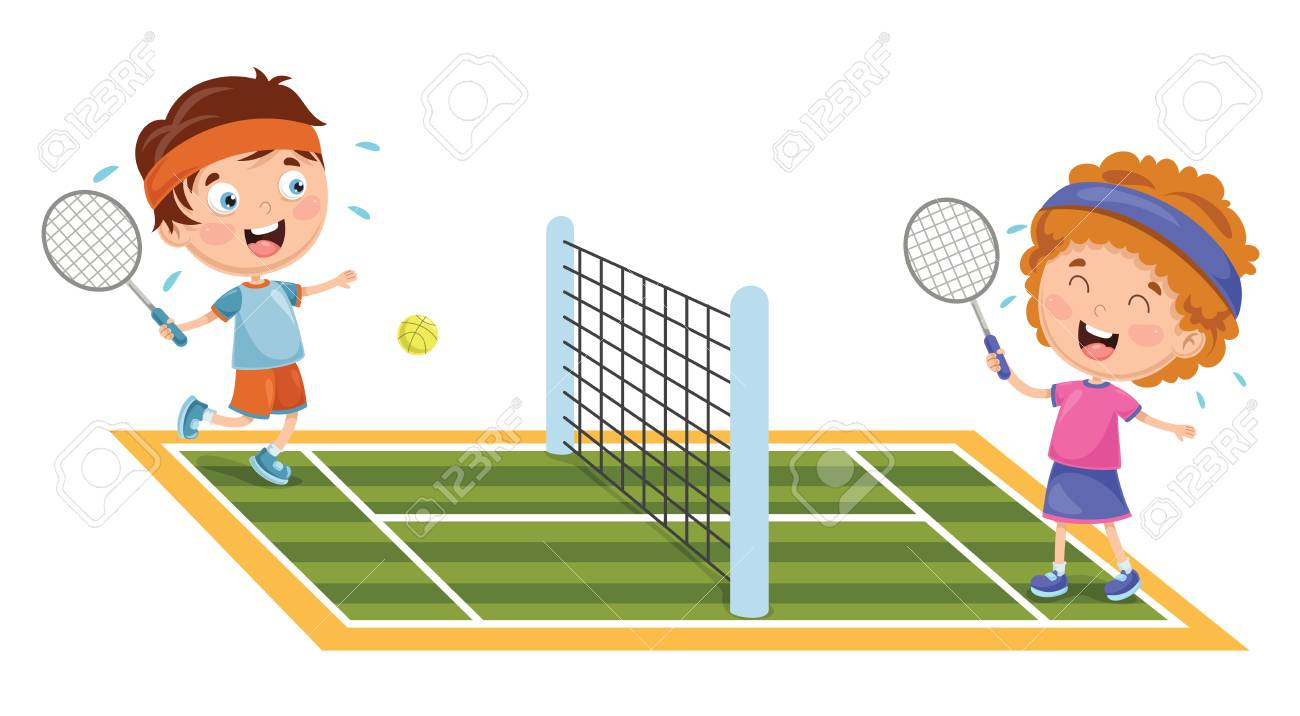 A Vector Illustration Of Kids Playing Tennis.