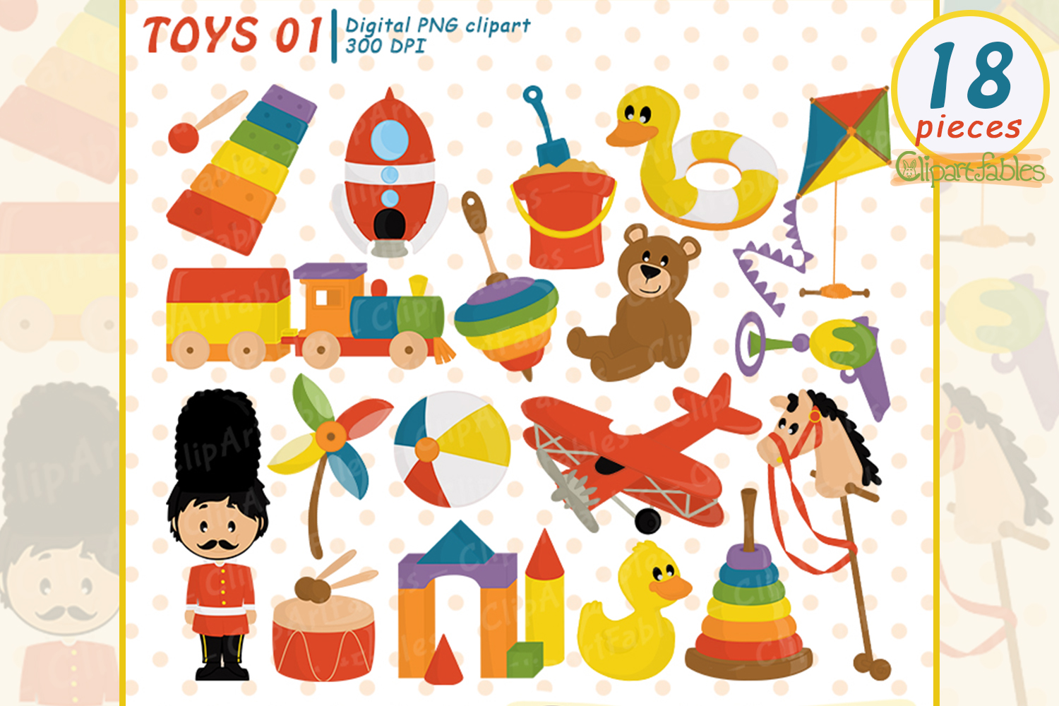 Cute kids toys clipart, wooden toys.