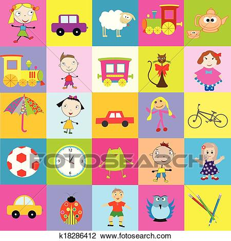 Background for kids with toys Clipart.