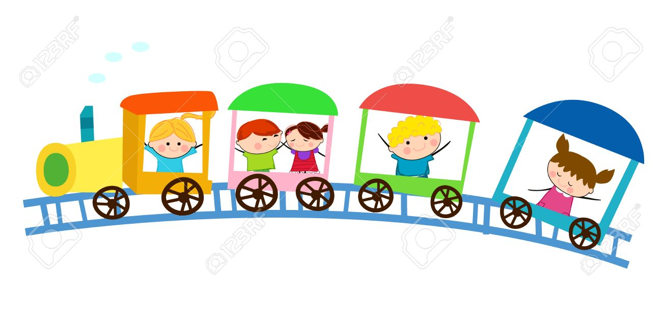 Kids and train.