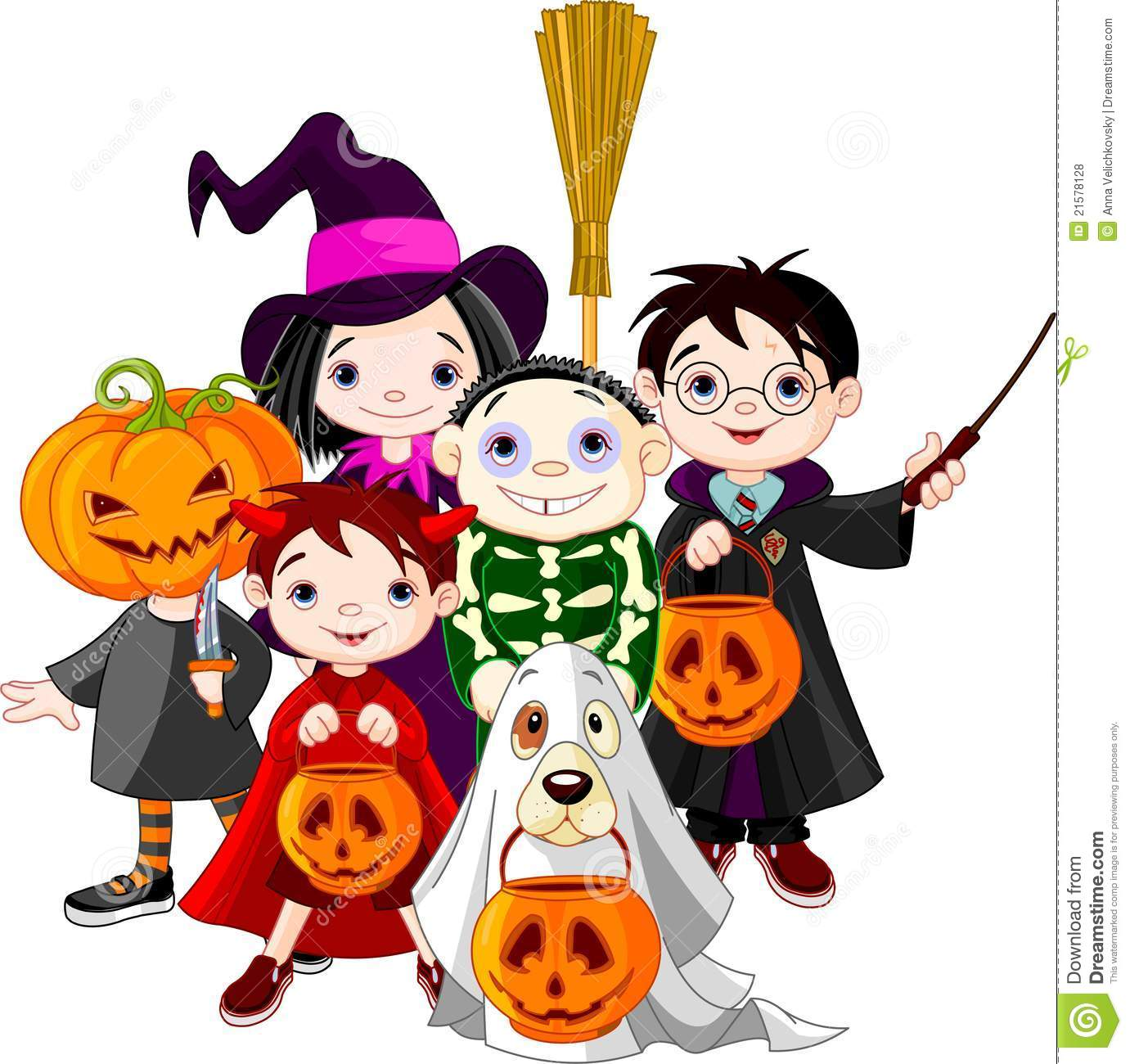 Free kids trick or treating clipart.