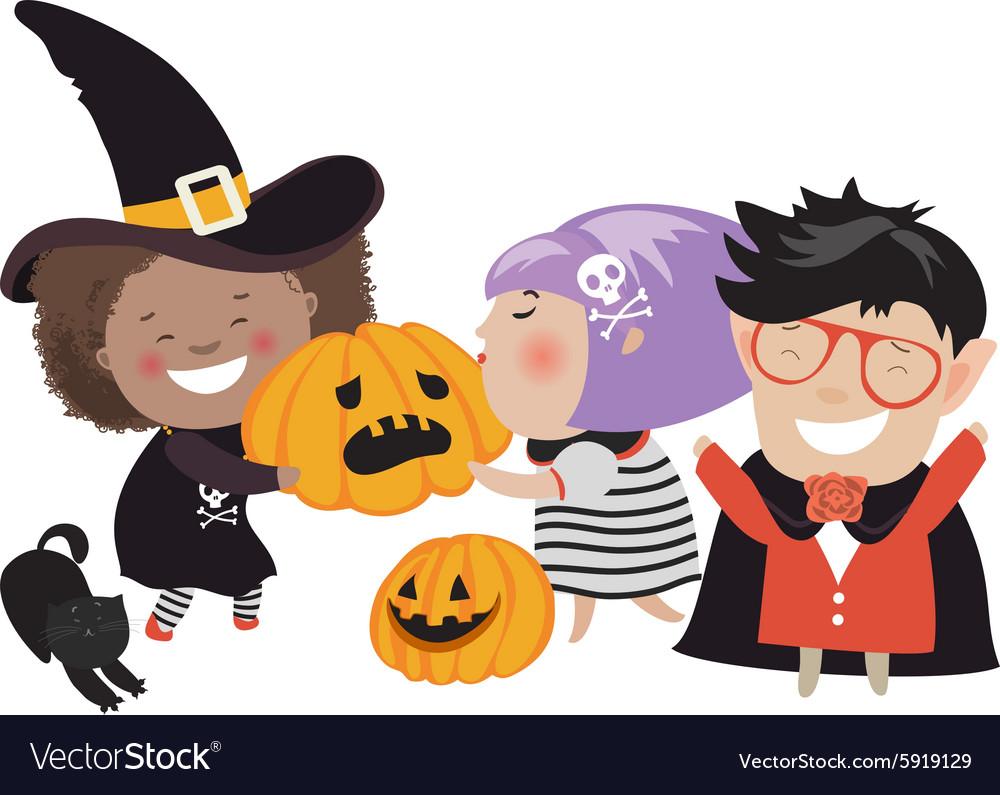 Children trick or treating in Halloween costume.